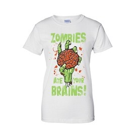 Women's Juniors T-Shirt Zombies Ate Your Brains! Undead Living Dead Walkers Tee (More options available)