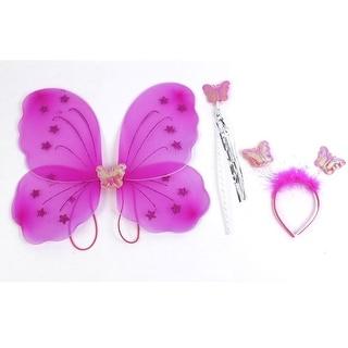 Unique Bargains Girls Butterfly Fairy Angel Wings Wand Boppers Set Party Fancy Dress Fuchsia