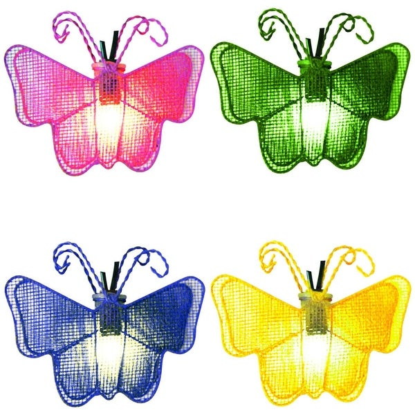 Set of 10 Pink, Green, Blue and Yellow Butterfly Novelty Christmas Lights - White Wire