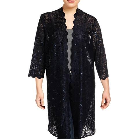 R&M Richards Womens Plus Jacket Lace Sequined