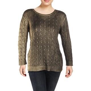 Lauren Ralph Lauren Womens Plus Pullover Sweater Metallic Cable Knit - 1x