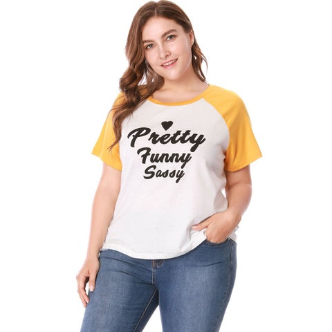 Women's Plus Size Contrast Color Letter Print Raglan T-shirt - White