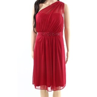 Adrianna Papell Cherry Red Womens Size 18 Plus Tulle Sheath Dress
