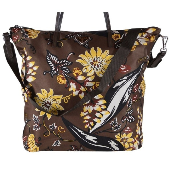 fd7d98bee1 Shop Prada 1BG189 Tessuto Nylon Stampato Caffe Floral Zip Top Purse ...