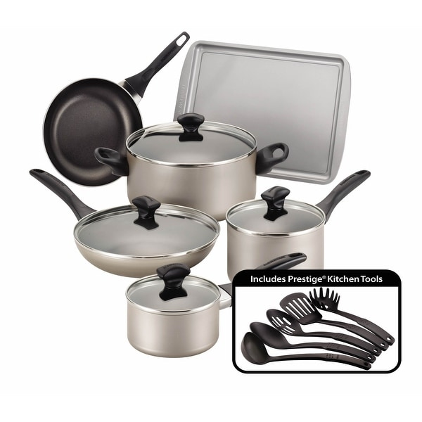 Farberware Champagne Nonstick 15-piece Cookware Set. Opens flyout.