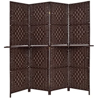 Costway Folding 4 Panel Room Divider Removable Display Shelves Woven Paper Screen Brown