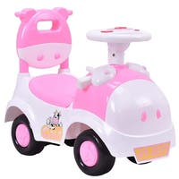 Gymax 3-in-1 Sliding Car Pushing Cart Walker Toddlers Ride On Toy Baby Calf w/ Sound - pink and white