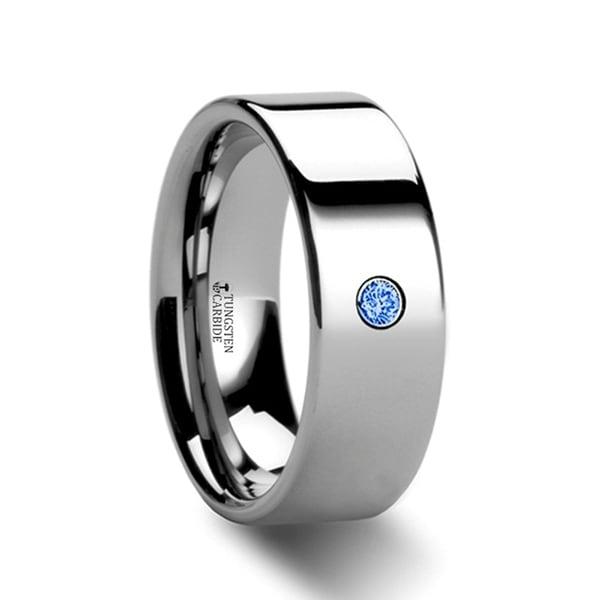 Pembroke Flat Style Polished Tungsten Blue Diamond Ring