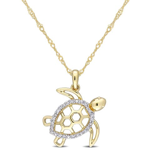 Miadora 10k Yellow Gold Diamond Accent Sea Turtle Necklace