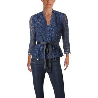 Alex Evenings Womens Petites Blouse Lace Metallic - pm