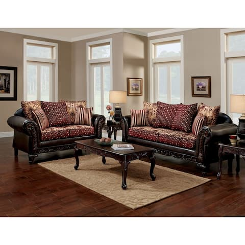 Furniture of America Mestra Traditional Brown 2-piece Sofa Set