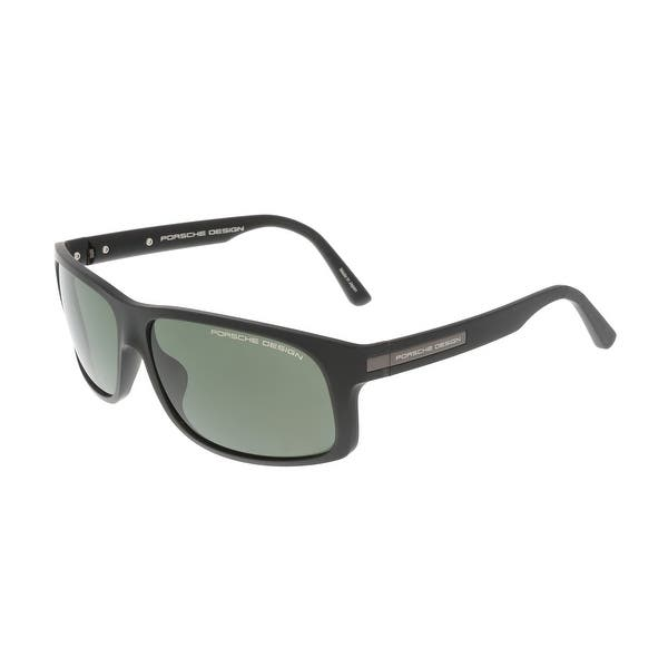b61bf694e611 Shop Porsche P8572-A Black Rectangle Sunglasses - 64-14-135 - Free ...