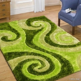 Abstract Wave Design Green Color Area Rug 5 X 7