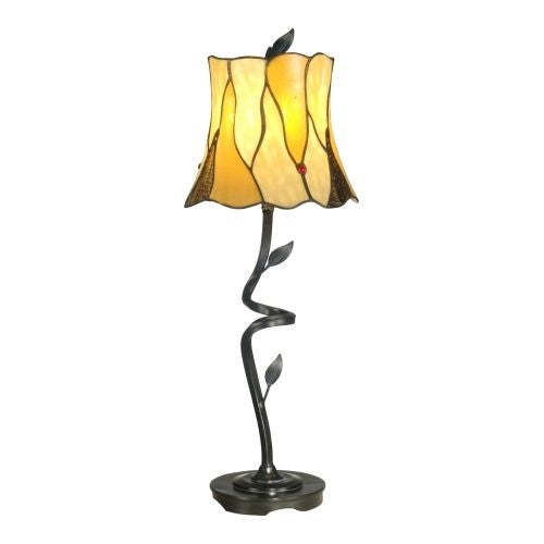 """Dale Tiffany TB11030 Twisted Leaf Single Light 26"""" Tall Buffet Style Table Lamp with Tiffany Glass Shade"""