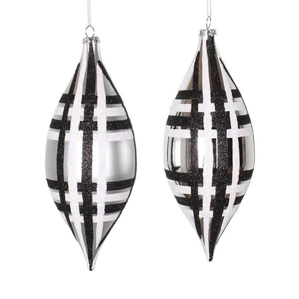 "4ct Silver w/ Black & White Glitter Plaid Shatterproof Christmas Finial Drop Ornaments 7"""