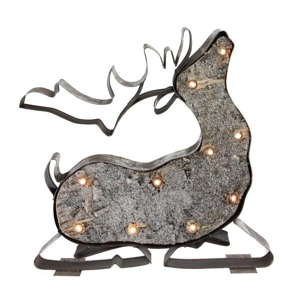 "14.25"" Glittery Brown Rustic Metal Flying LED Lighted Reindeer Marquee"
