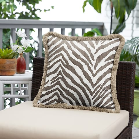 Sunbrella Namibia Grey and Taupe Fringe Indoor/ Outdoor Pillow - 18 in x 18 in