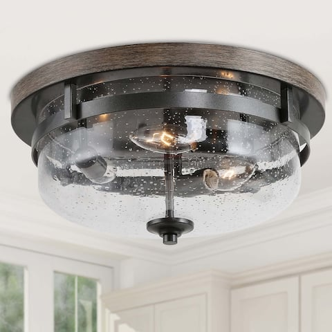 """Modern Farmhouse 3-lights Full Flush Mount Ceiling Lighting with Faux Wood - W13.5""""x H6.5"""""""