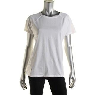 L-RL Lauren Active Womens Slub Mesh Inset T-Shirt - L