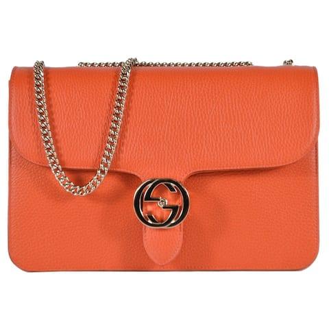 Gucci 510303 Orange Leather Interlocking GG Marmont Crossbody Purse Handbag