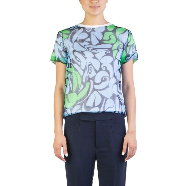 af7a9bb43bfdf Shop Miu Miu Women s Silk Cotton Blend Floral Print Blouse Blue - Free  Shipping Today - Overstock - 15894479