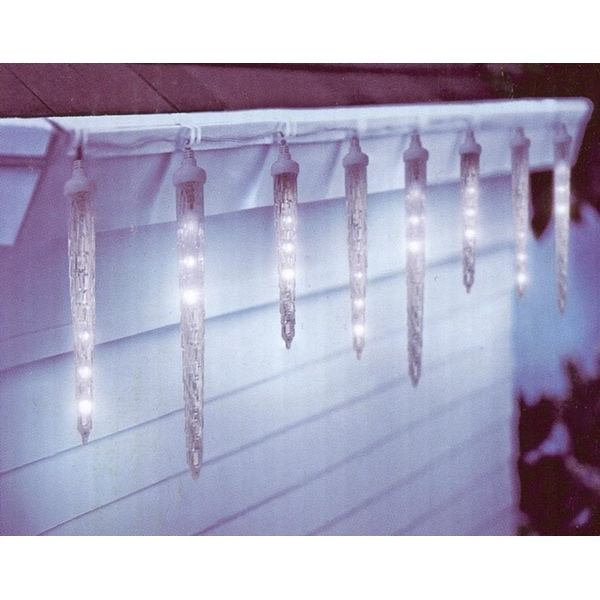 Set of 10 Clear LED Dripping Icicle Christmas Lights - White Wire