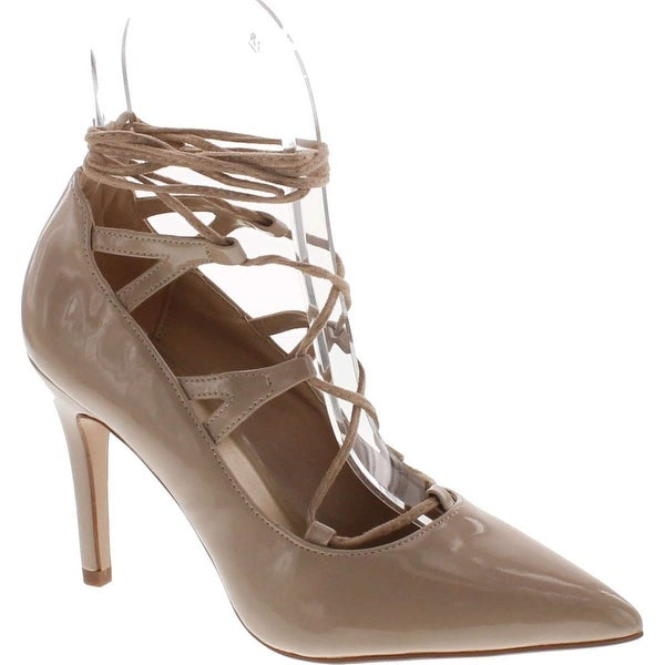 Delicious Women's Crowd Pointy Toe Faux Suede Lace Up Ankle Wrap High Heel Pump - Beige