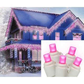 Set of 70 Hot Pink LED Wide Angle Icicle Christmas Lights - White Wire