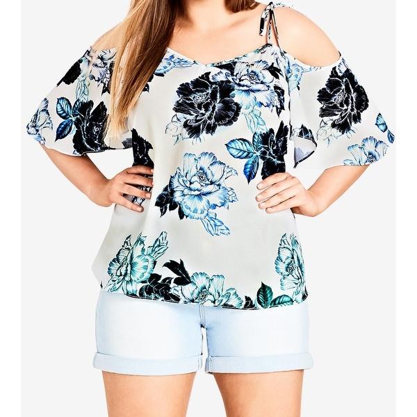 City Chic Womens Blouse White Size 24W Plus Floral Print Cold Shoulder