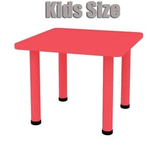 """2xhome - Red - Kids Table - Height Adjustable 21.5"""" to 22.5"""" Square Shaped Plastic Activity Table with Metal Legs 24"""" x 24""""