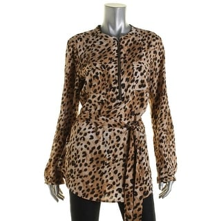 Calvin Klein Womens Animal Print Belted Tunic Top - L