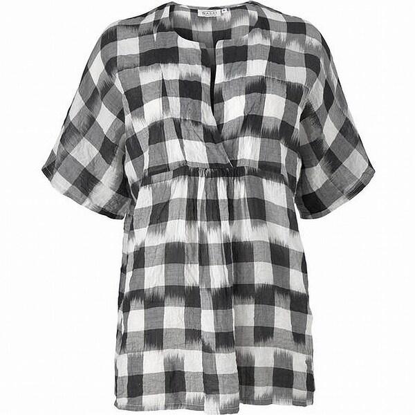 2fff99da5a3 Shop Masai Black White Womens Size XS Plaid Tunic Split Neck Blouse ...