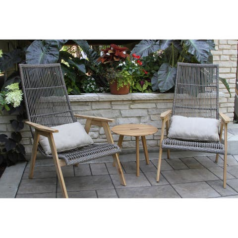 Samera Teak and Wicker Basket Lounger, 2 pk