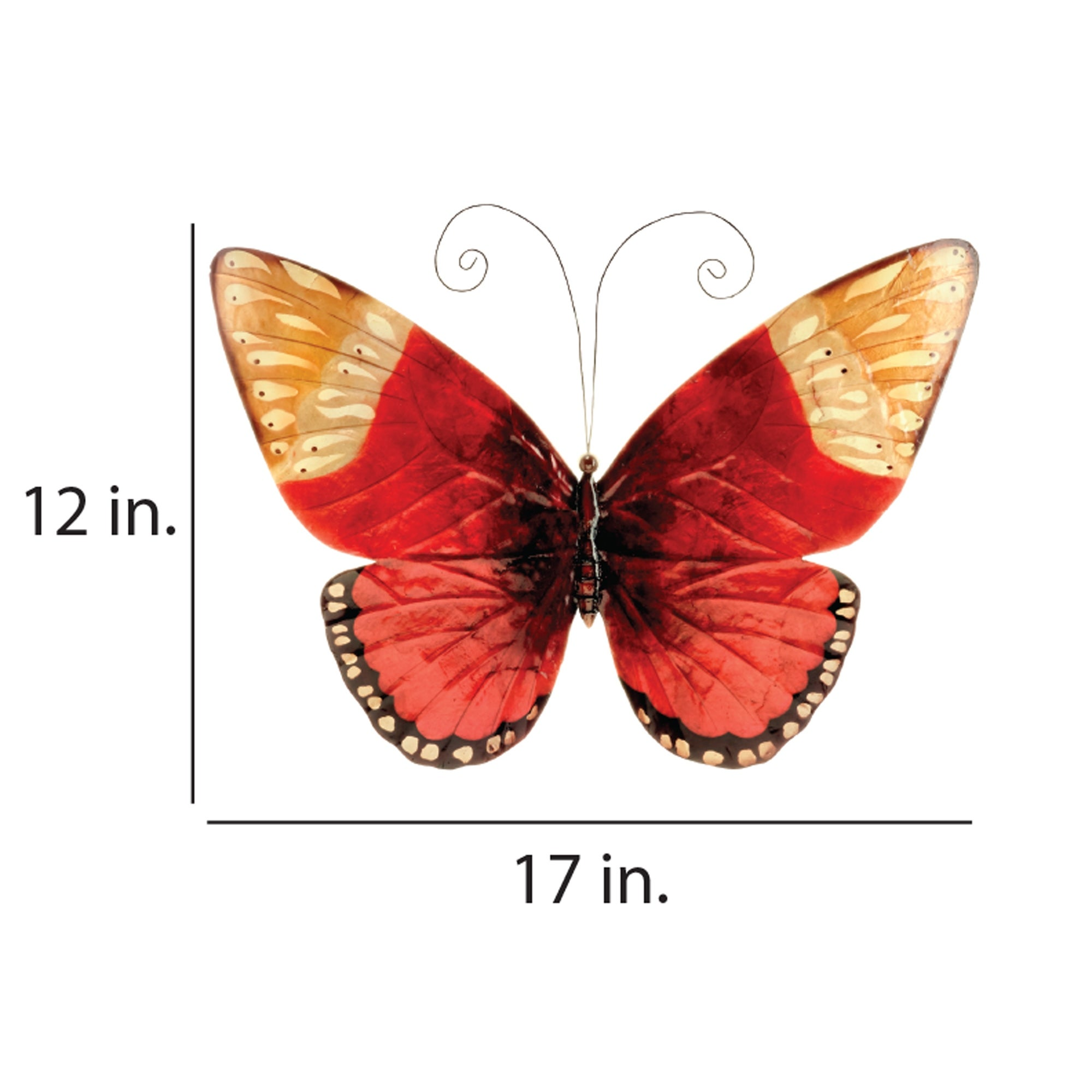 Butterfly Chisheen Butterfly Wall Decor Red Metal Sculpture for Hanging Indoor or Outdoor Large Size