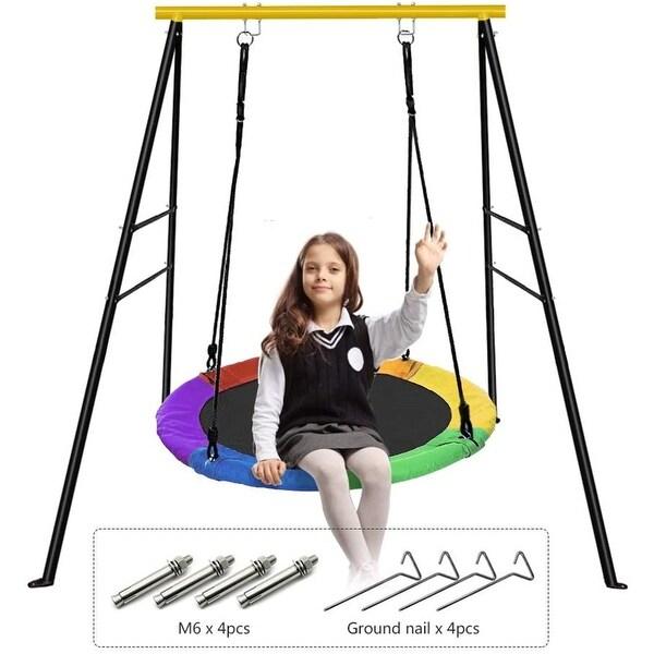Saucer Tree Swing and Swing Frame Set, 40'' Waterproof Saucer Tree Swing Set + Heavy Duty All-Steel Swing Frame - 40 inch. Opens flyout.