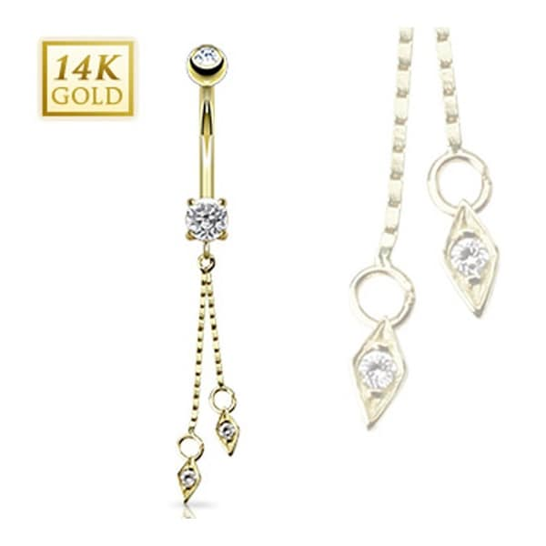 "14 Karat Solid Yellow Gold CZ Prong Navel Belly Button Ring with Dangle - 14GA 3/8"" Long"