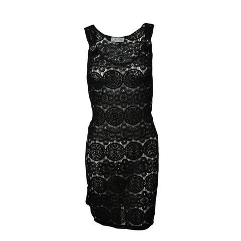 J Valdi Women's Circle-Lace Ring Strap Swimsuit Cover - Black