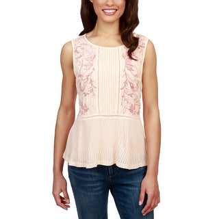 Lucky Brand Embroidered Ladder Trim Sleeveless Top Pale Peach - xL