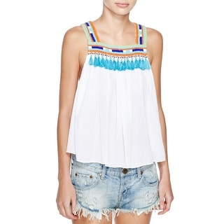 Piper by Townsen Womens Bacoor Camisole Top Beaded Tassels - xs