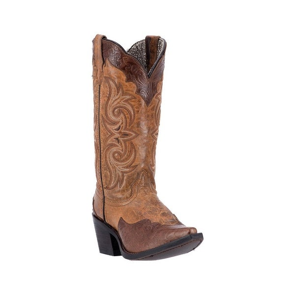 Laredo Western Boots Womens Ginger Cowboy Tooled Snip Brown 52146