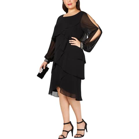 SLNY Womens Plus Cocktail Dress Tiered Embellished