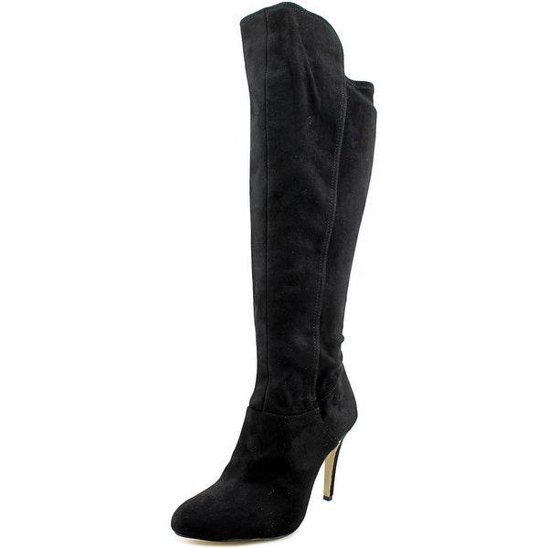 INC International Concepts Tracy Women Pointed Toe Leather Black Knee High Boot