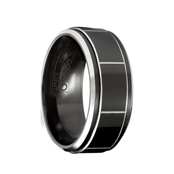 LATIOS Torque Black Cobalt Raised Polished Block Center Pattern Brushed Beveled Edges by Crown Ring - 9 mm