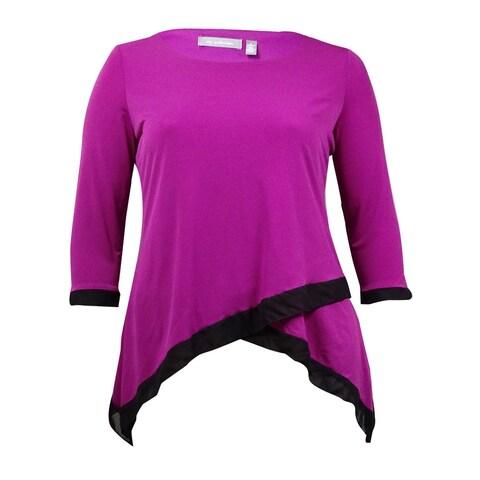 NY Collection Women's Chiffon-Trim Asymmetrical Jersey Top - Purple