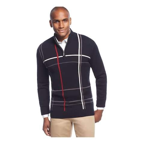 Geoffrey Beene Mens Windowpane Quarter-Zip Pullover Sweater
