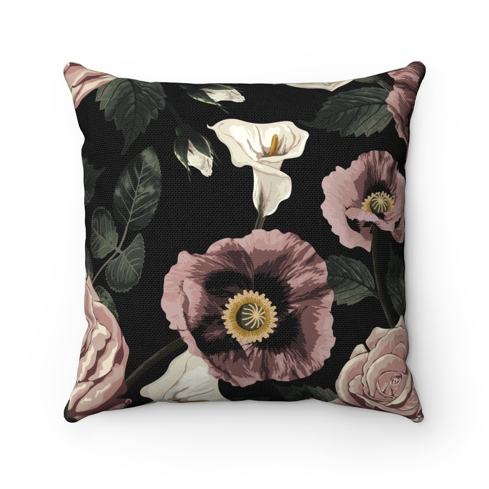 Red Fall Memories Floral Print Pillow E by design 26 x 26-inch