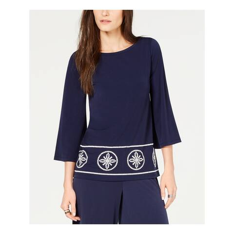 MICHAEL KORS Womens Navy 3/4 Sleeve Jewel Neck Top Size XS