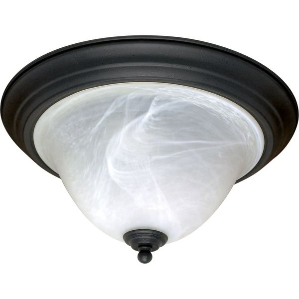 "Nuvo Lighting 60/383 Castillo 2-Light 15-1/4"" Wide Flush Mount Bowl Ceiling Fixture - Textured Black"