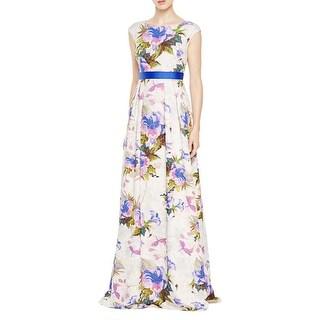 Adrianna Papell Womens Evening Dress Floral Print Metallic