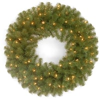 """24"""" North Valley(R) Spruce Wreath with Clear Lights - green"""
